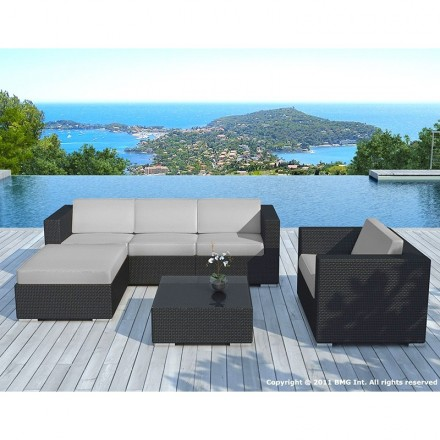 Garden furniture 5 squares SEVILLE woven resin (black, grey cushions)