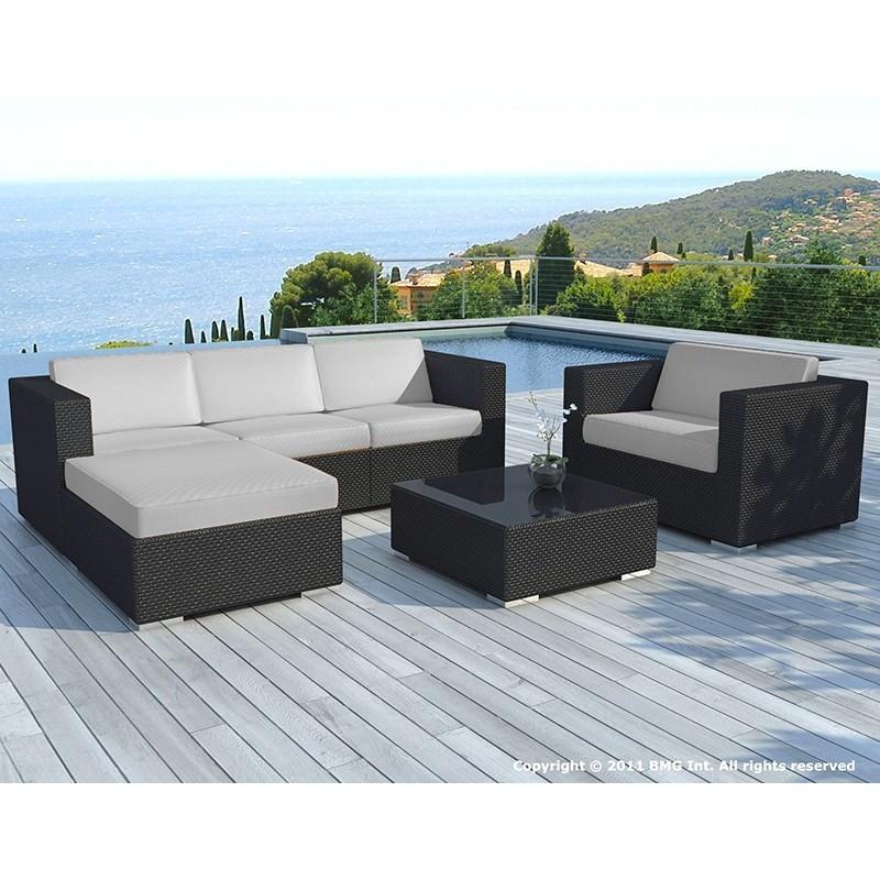 Salon de jardin 5 places SEVILLE en résine tressée (noir, coussins gris) - image 29857