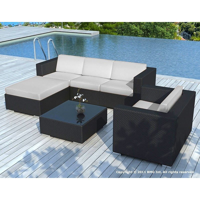 Salon de jardin 5 places SEVILLE en résine tressée (noir, coussins gris)