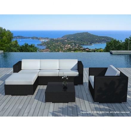 Garden furniture 5 squares SEVILLE woven resin (black, white/ecru cushions)