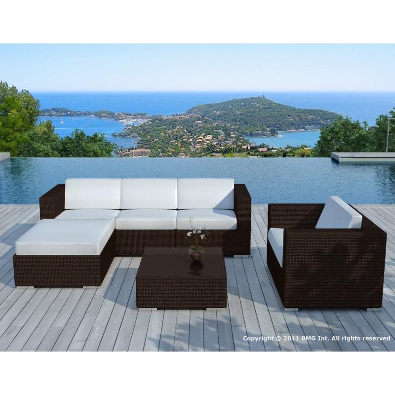Resina de muebles de jardín 5 plazas Sevilla trenzado (marrón, azul cojines) - image 29865