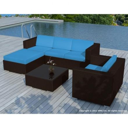 salon de jardin 5 places seville en rsine tresse marron coussins bleu - Salon Bleu Turquoise Et Marron