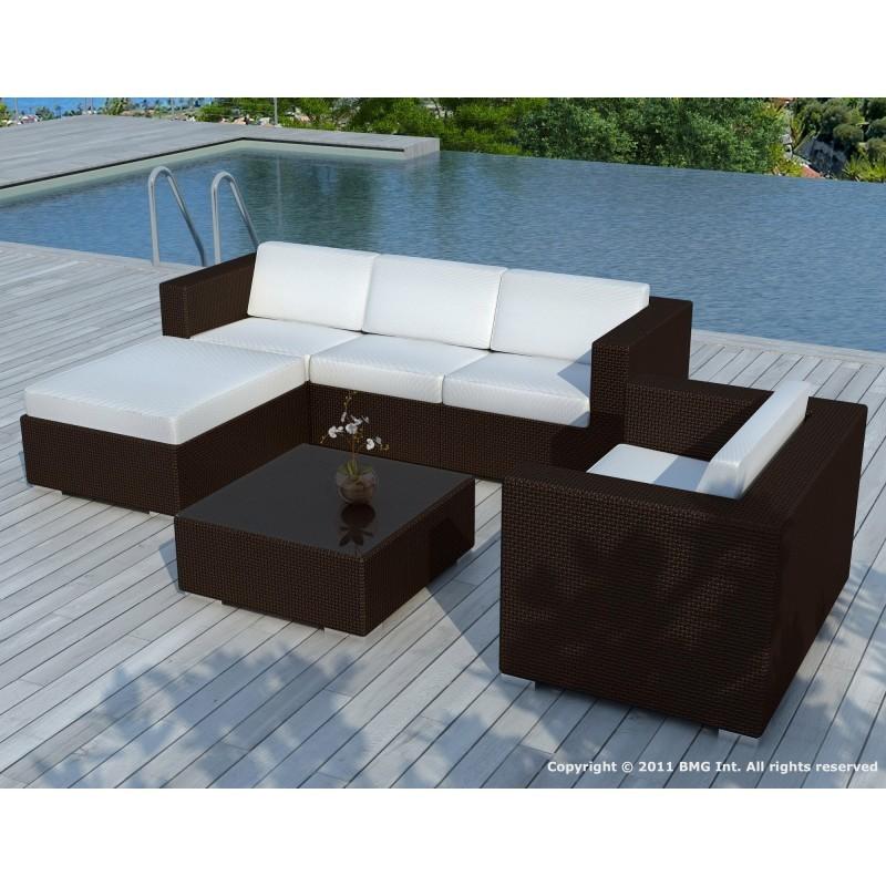 Salon de jardin 5 places SEVILLE en résine tressée (marron, coussins vert) - image 29870