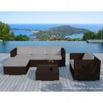 Resina di mobili da giardino 5 piazze SEVILLE intrecciato (marrone, grigi cuscini)