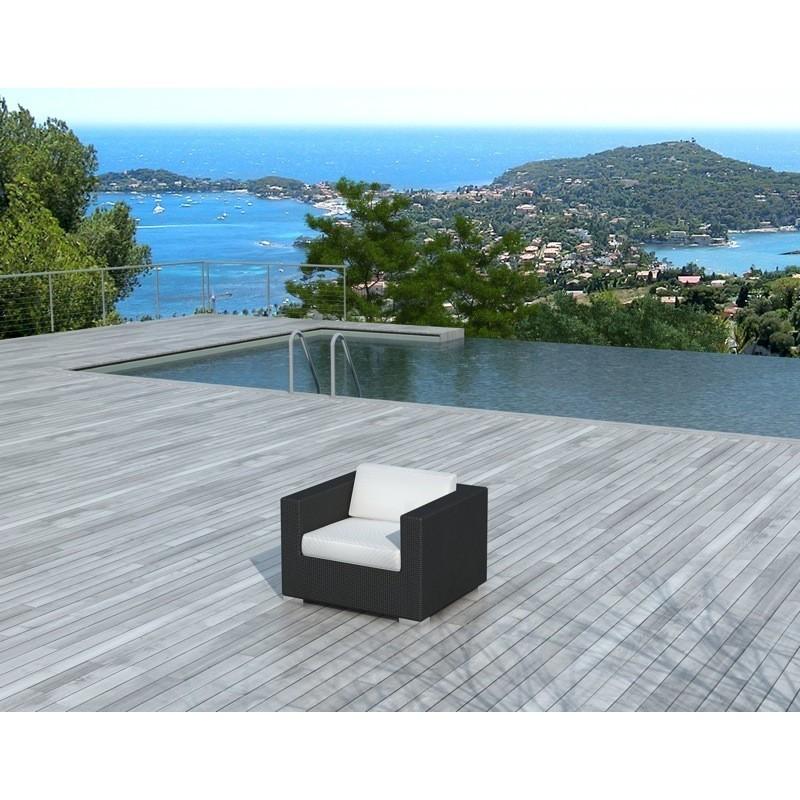 Fauteuil de jardin SALOU en résine tressée (noir, coussins blanc/écru) - image 29886