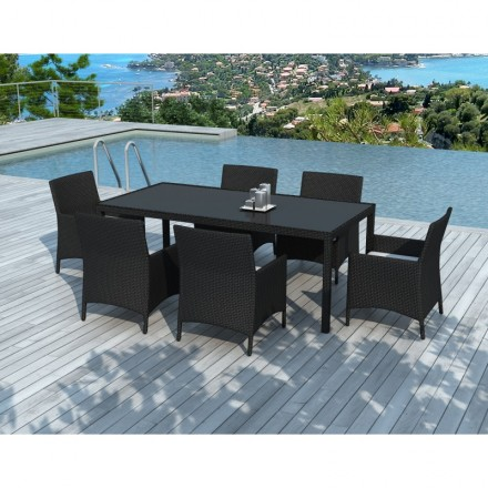 Dining table and 6 chairs garden PALMAS in woven resin (black, white/ecru cushions)
