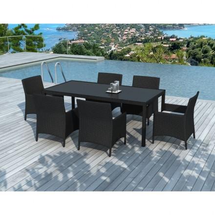 Mesa de comedor y 6 sillas de jardín PALMAS en resina tejida (negros, blanco/crudo cojines)