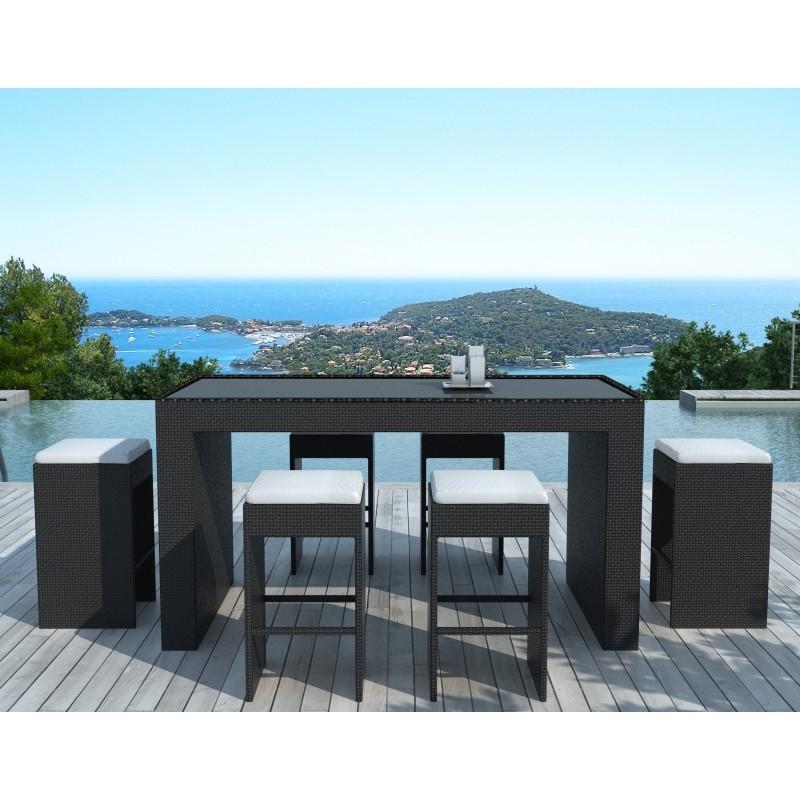 Meuble bar et 6 tabourets de jardin PORTO en résine tressée (noir, coussins blanc/écru) - image 29901