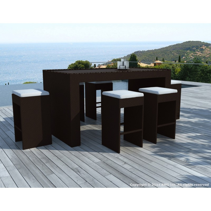 meuble bar et 6 tabourets de jardin porto en r sine tress e marron coussins blanc cru. Black Bedroom Furniture Sets. Home Design Ideas