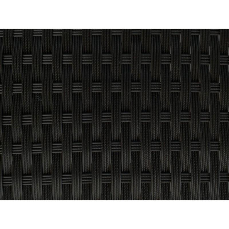 Salon de jardin 6 places KUMBA en résine tressée (noir, coussins bleu) - image 29912
