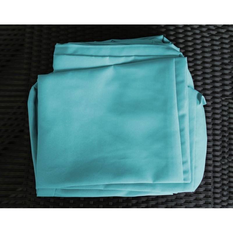 Salon de jardin 6 places KUMBA en résine tressée (noir, coussins bleu) - image 29913