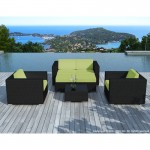 Resina di mobili da giardino 6 posti KUMBA tessuto (cuscini neri, verde)