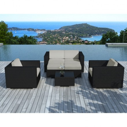 Garden furniture 6 seater KUMBA woven resin (black, grey cushions)