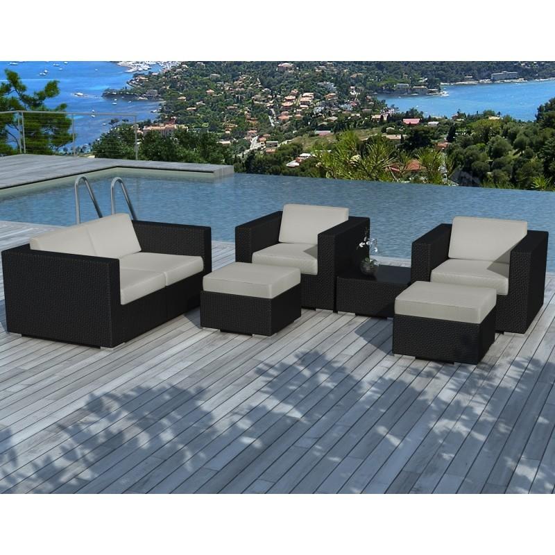 Salon de jardin 6 places KUMBA en résine tressée (noir, coussins gris) - image 29922