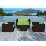 Resina di mobili da giardino 6 posti KUMBA intrecciato (marrone, verde cuscini)