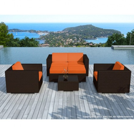 Garden furniture 6 seater KUMBA resin braided (Brown, orange cushions)