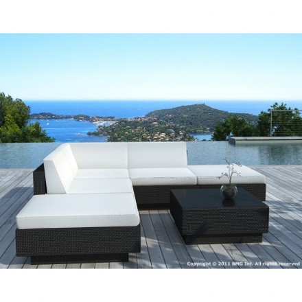 Nice Corner Garden Lounge 5 Places Valencia Resin Braided (black, White/ecru  Cushions)
