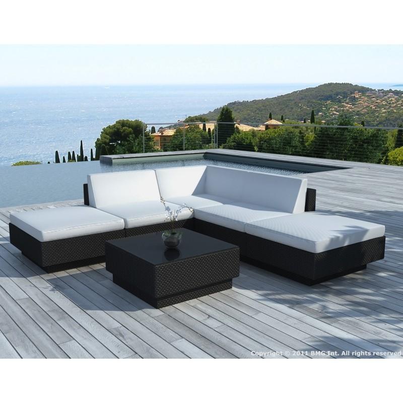 Salon de jardin d'angle 5 places VALENCE en résine tressée (noir, coussins blanc/écru) - image 29941