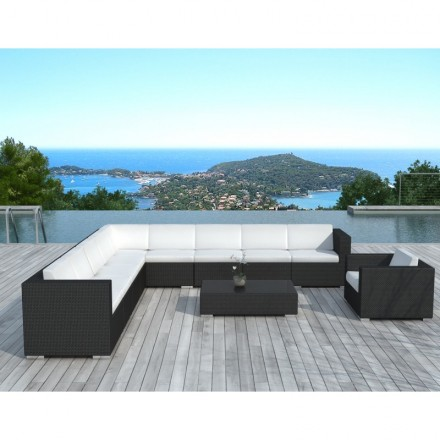 Living room of garden of angle 10 places LOUM woven resin (black, white/ecru cushions)