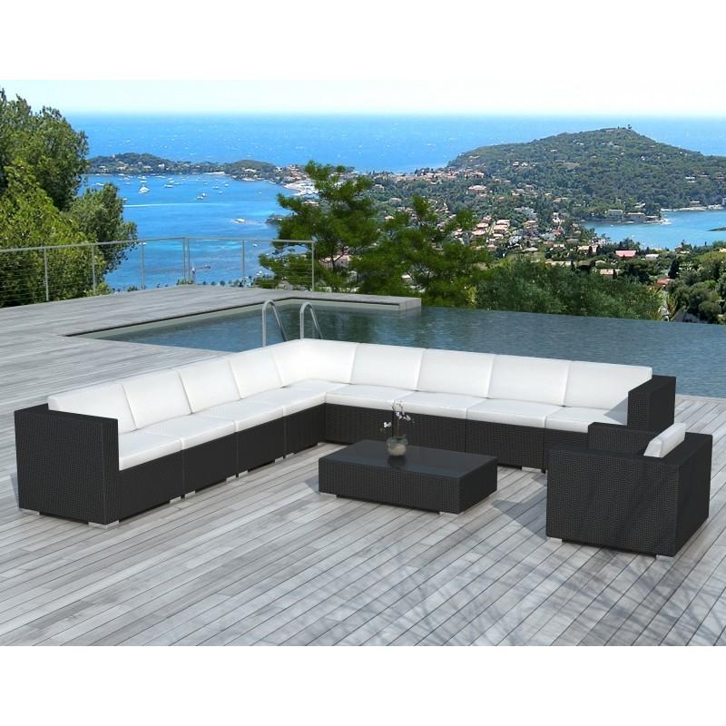 Salon de jardin d'angle 10 places LOUM en résine tressée (noir, coussins blanc/écru) - image 29974