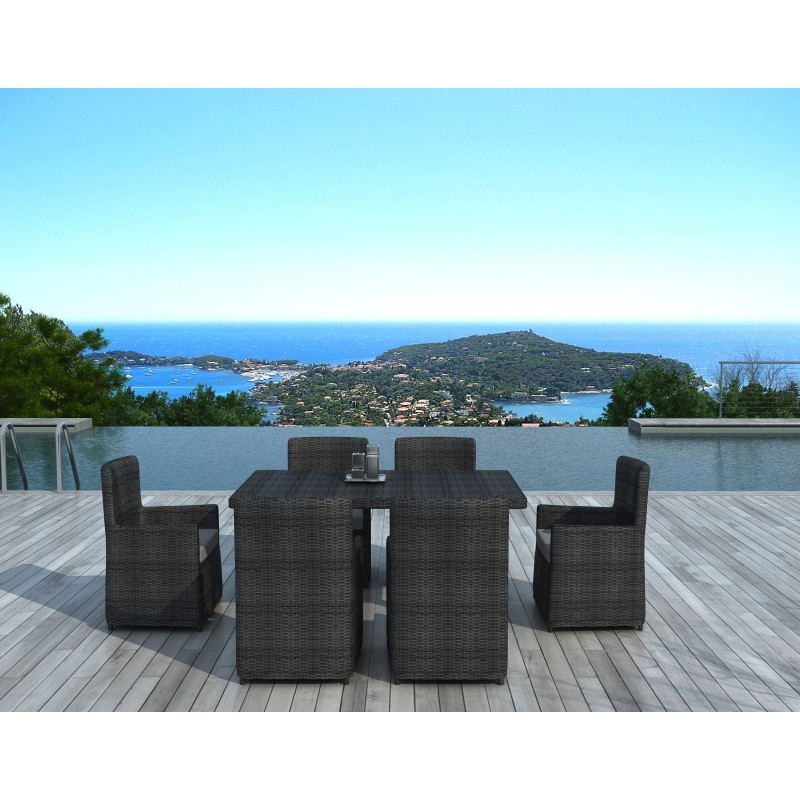 Table to eat and 6 chairs MORA in woven resin (grey) - Garden Lounge