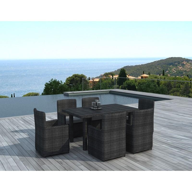 Table manger et 6 chaises de jardin mora en r sine tress e gris - Table a manger de jardin en resine ...