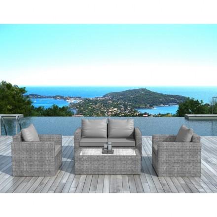 Garden furniture 4 seater JUAN woven resin (grey)