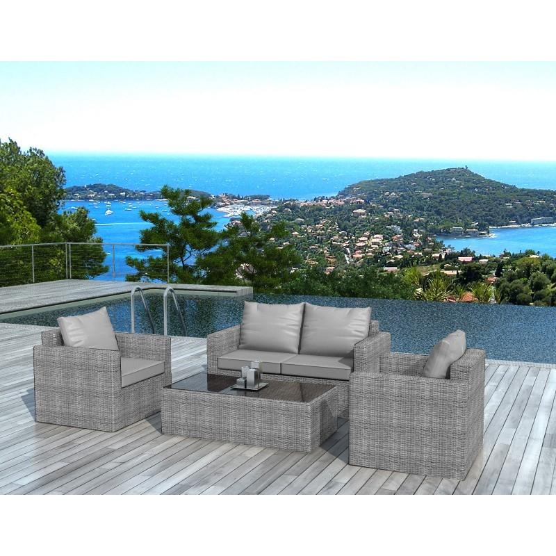 salon de jardin 4 places juan en r sine tress e gris. Black Bedroom Furniture Sets. Home Design Ideas