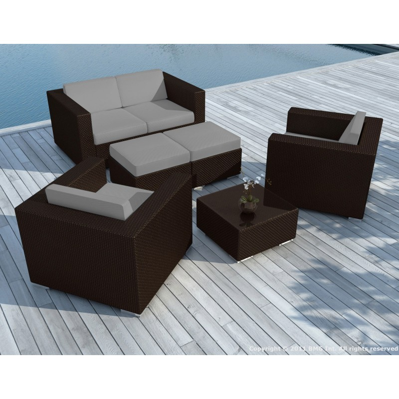 Resina de muebles de jard n 6 plazas kumba trenzado for Muebles jardin resina