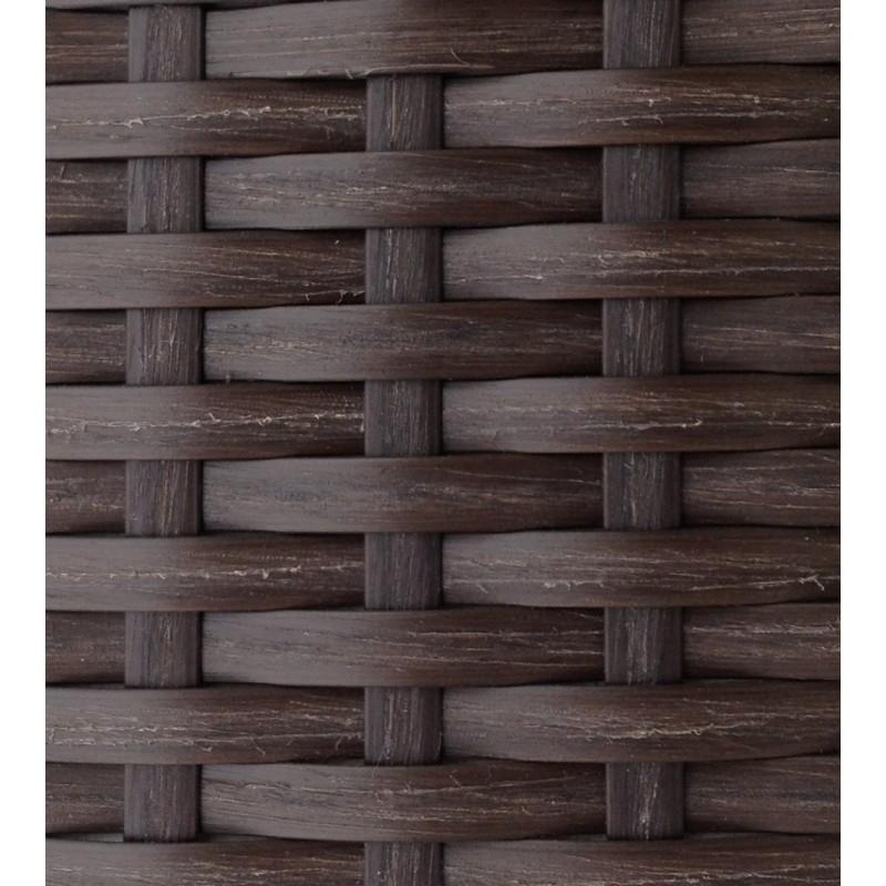 Salon de jardin 6 places KUMBA en résine tressée (marron, coussins bleus) - image 29994