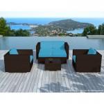 Resina di mobili da giardino 6 posti KUMBA intrecciato (Brown, cuscini blu)