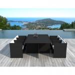 Tavolo e 6 sedie built-in giardino KRIBOU in resina intrecciata (neri, bianco/ecru cuscini)