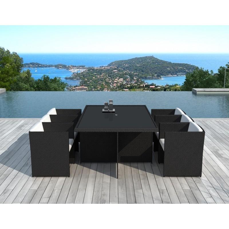 Table à manger et 6 fauteuils de jardin encastrable KRIBOU en résine tressée (noir, coussins blanc/écru) - image 30005