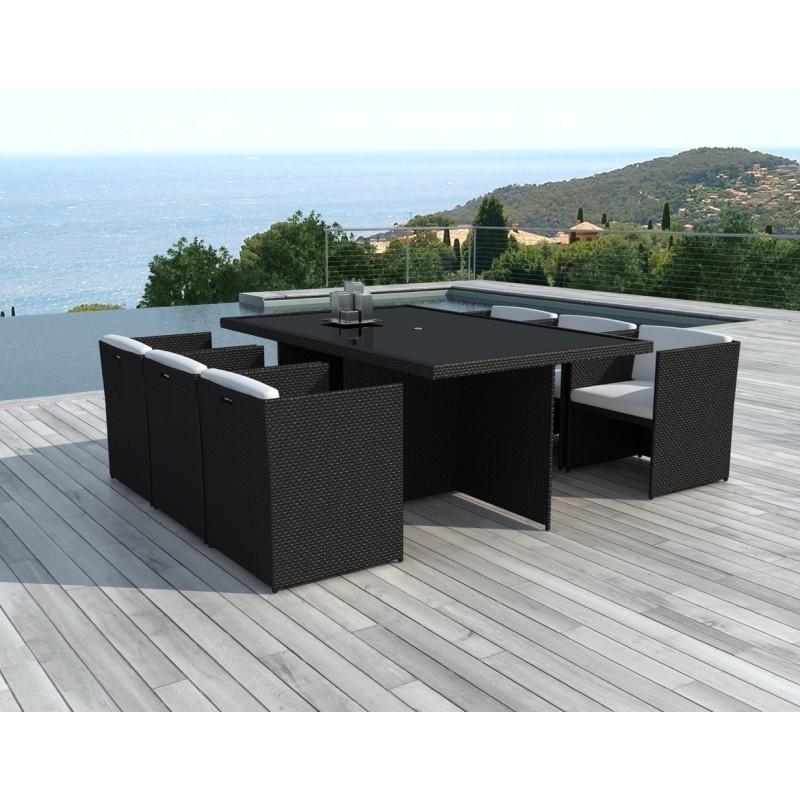 Table à manger et 6 fauteuils de jardin encastrable KRIBOU en résine tressée (noir, coussins blanc/écru) - image 30006