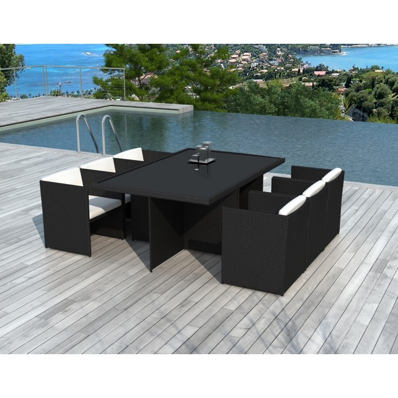 table manger et 6 fauteuils de jardin encastrable kribou en r sine tress e noir coussins. Black Bedroom Furniture Sets. Home Design Ideas