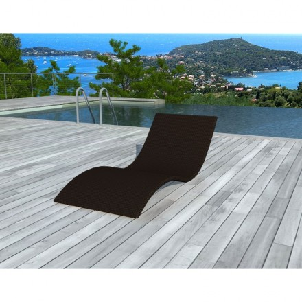 Sunbathing sunbed GIRONA in woven resin (Brown)