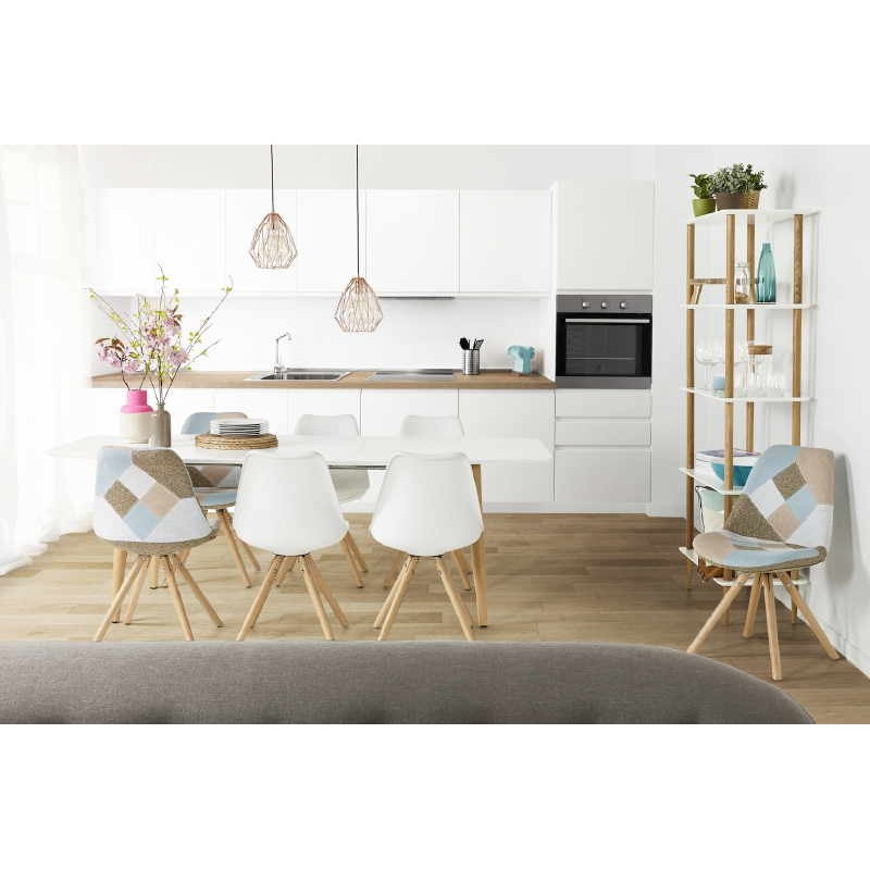 chaise patchwork style scandinave boheme en tissu bleu gris beige. Black Bedroom Furniture Sets. Home Design Ideas