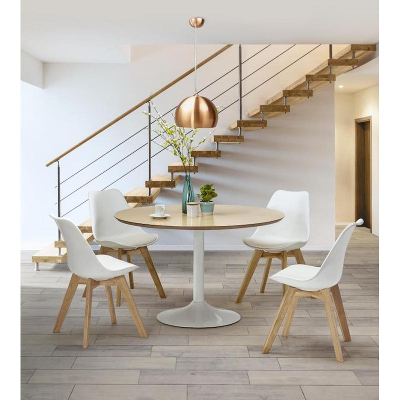 Dining table round design Scandinavian STRIPE in wood and painted metal (Ø 120 cm) (natural, white) - image 30057
