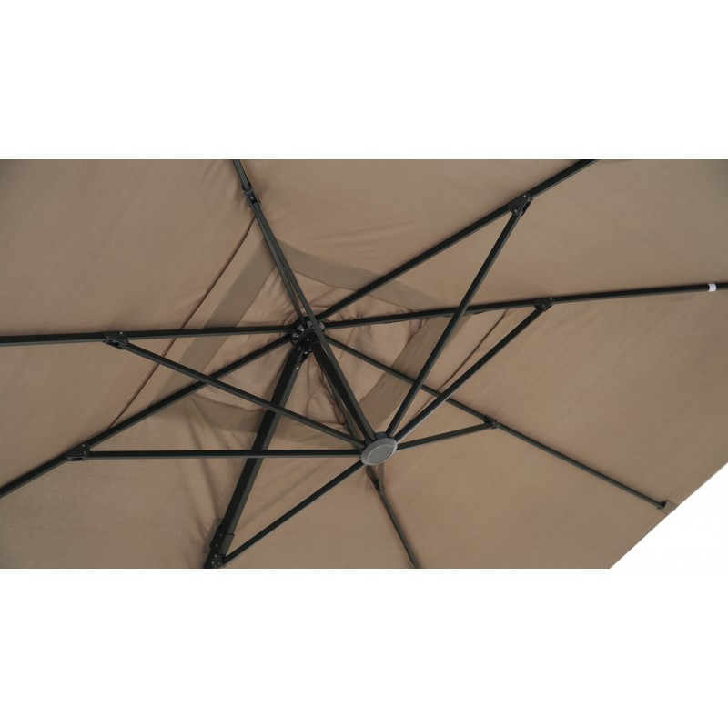 Parasol déporté carré avec ventilation 3m x 3m CESAR (taupe) - image 30083