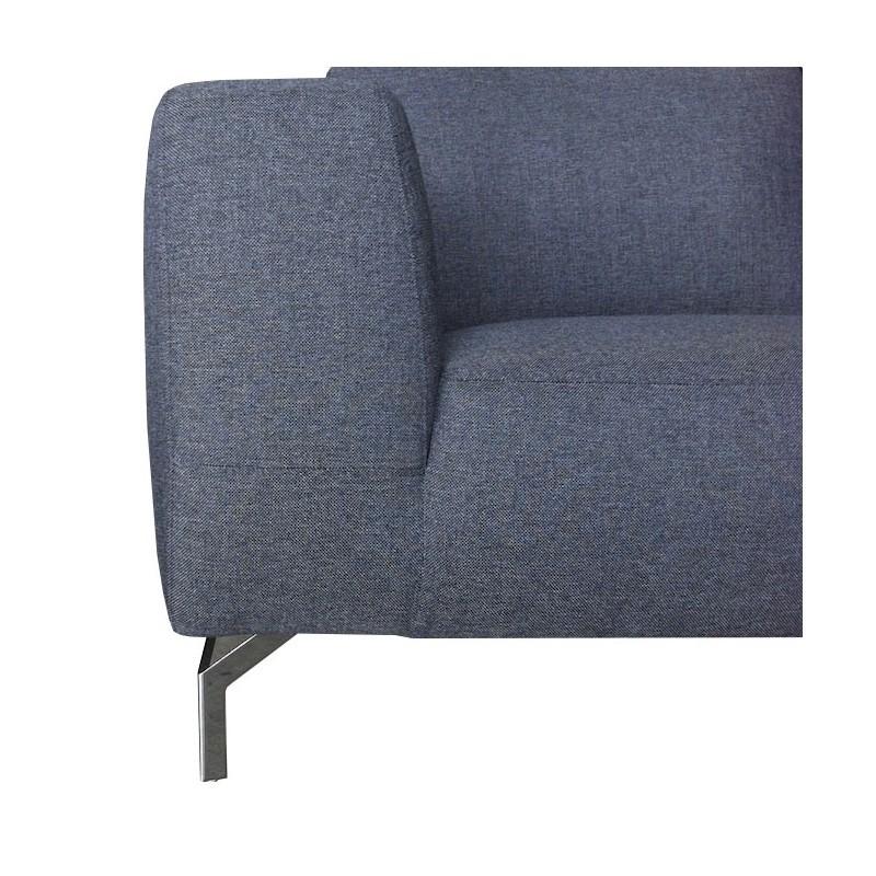 Canapé d'angle côté Gauche design 4 places avec méridienne  ORIANE en tissu (gris) - image 30114