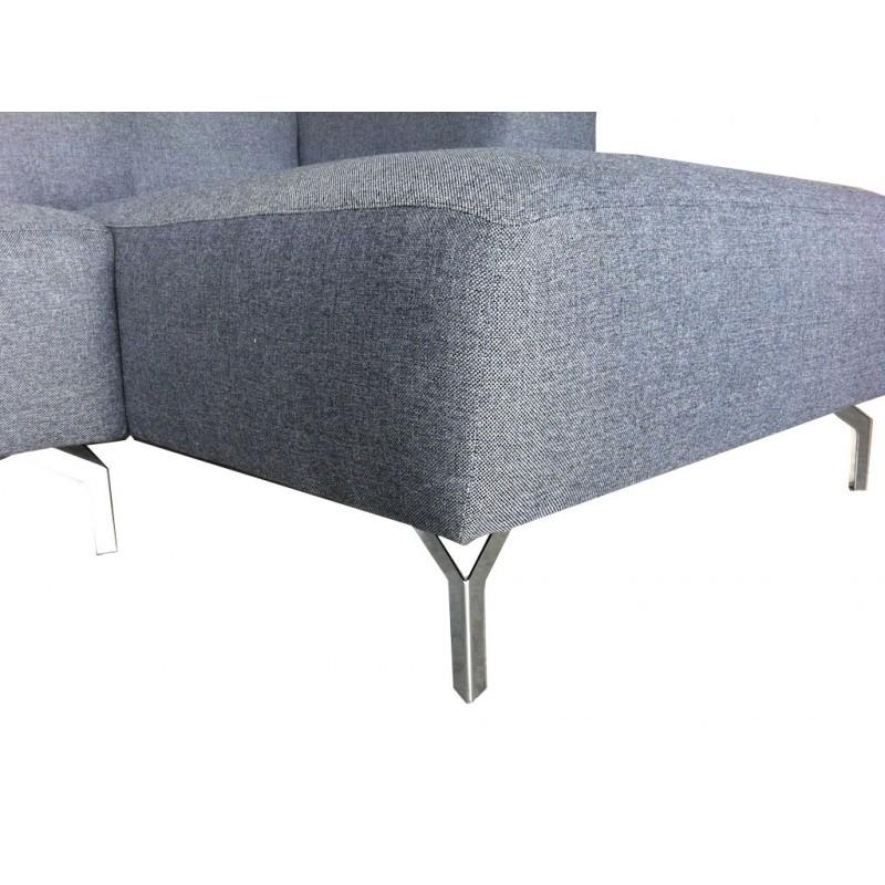 Canapé d'angle côté Gauche design 4 places avec méridienne  ORIANE en tissu (gris) - image 30115