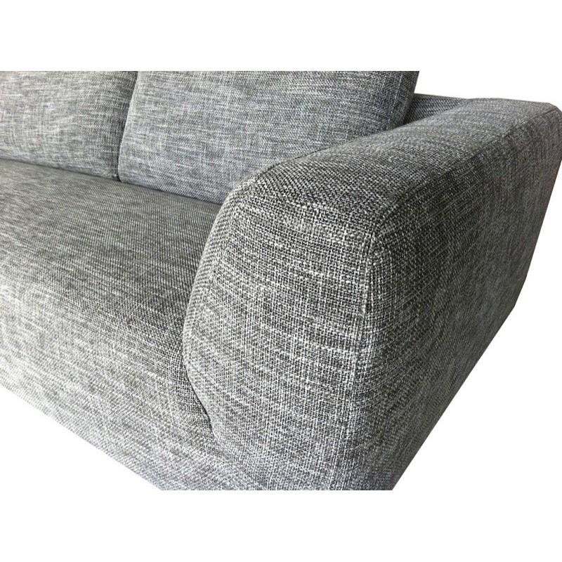 Canapé d'angle côté Droit design 5 places avec méridienne JUSTINE en tissu (gris clair chiné) - image 30124