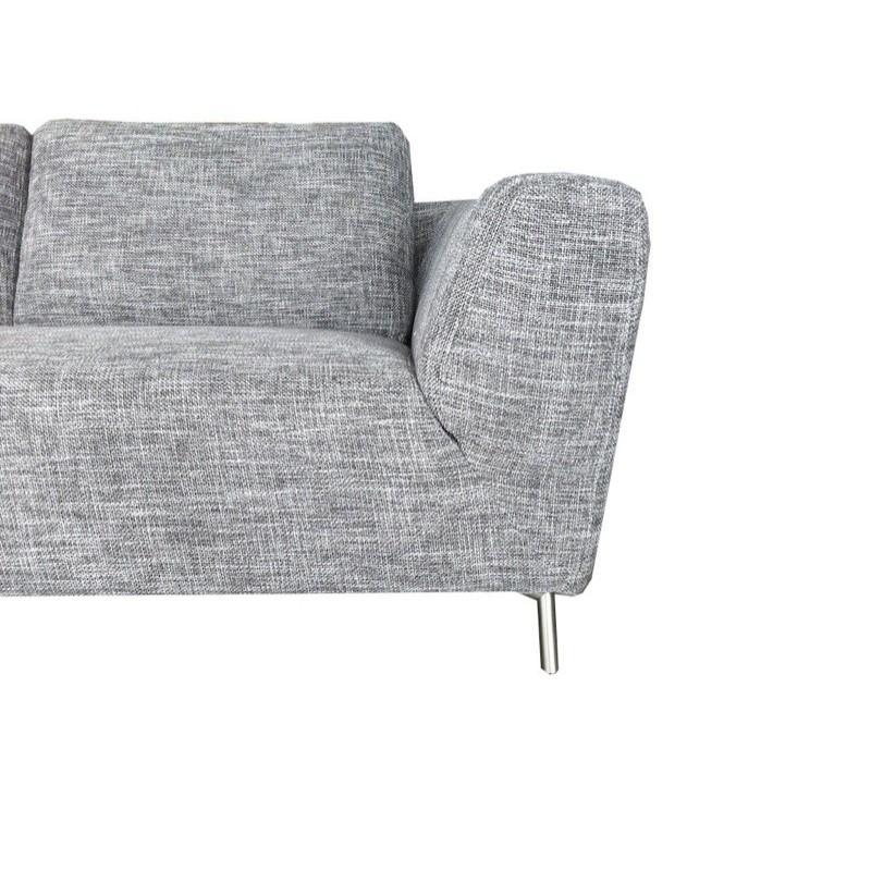 Canapé d'angle côté Gauche design 5 places avec méridienne JUSTINE en tissu (gris clair chiné) - image 30129