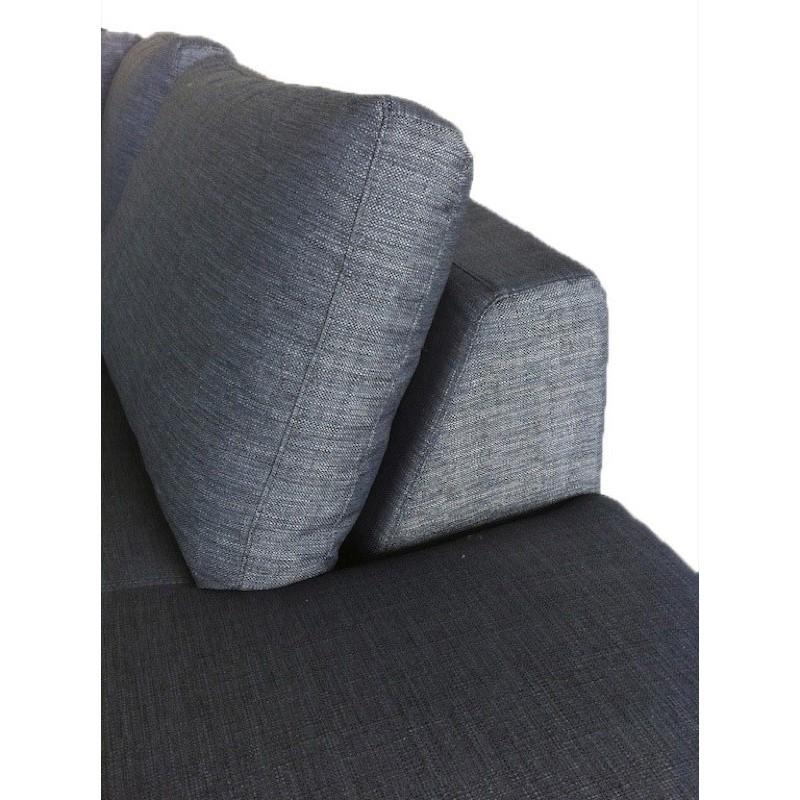 Canapé d'angle côté Gauche design 5 places avec méridienne JUSTINE en tissu (gris foncé) - image 30142