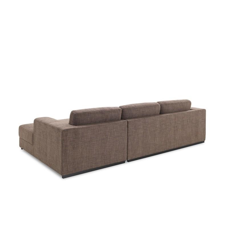 Canapé d'angle côté Droit design 4 places avec méridienne MAGALIE en tissu (marron) - image 30151