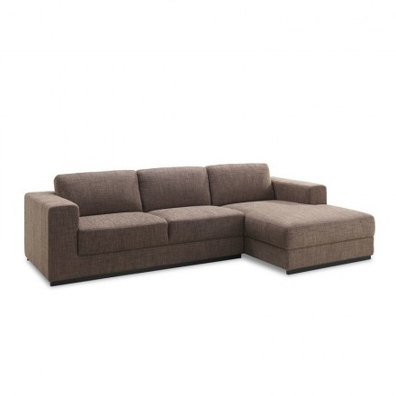 Corner sofa design right side 4-seater with chaise MAGALIE in fabric (Brown)