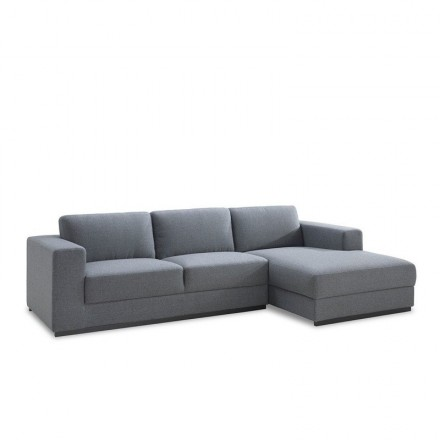 Corner sofa design right side 4 places with Ma chaise in fabric (grey)