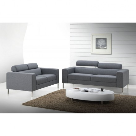 Fixed right sofa design 3 seater CHARLINE fabric (grey)