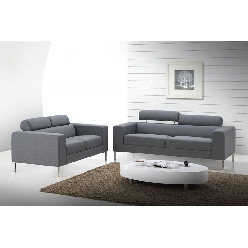canap droit fixe design 2 places charline en tissu gris. Black Bedroom Furniture Sets. Home Design Ideas