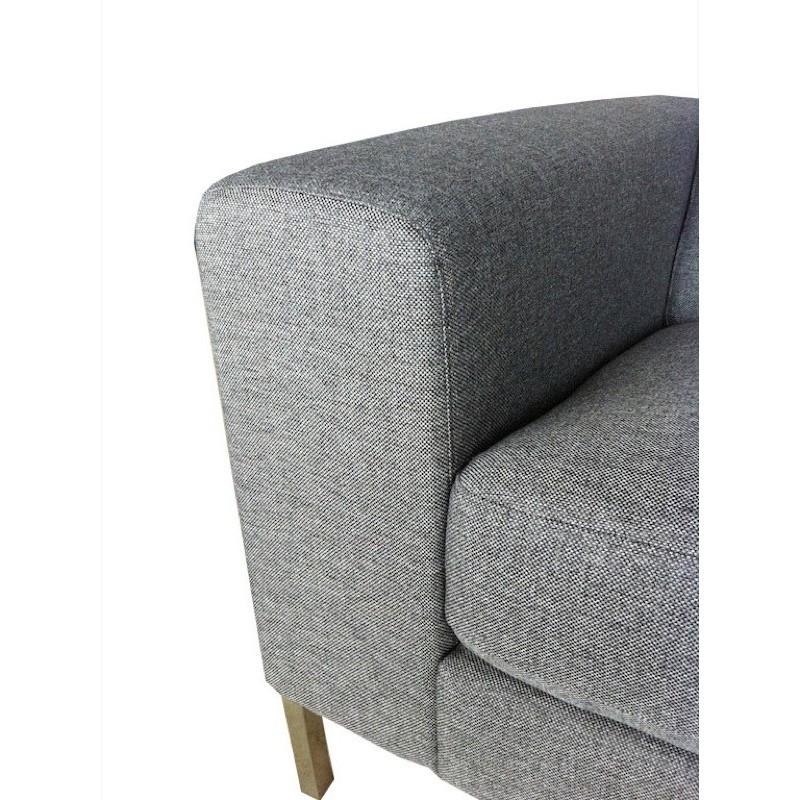 Canapé droit fixe design 2 places CHARLINE en tissu (gris) - image 30169